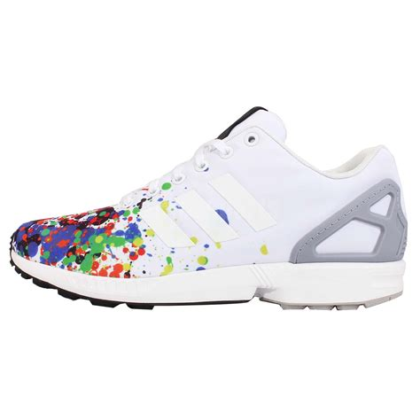 adidas originals zx flux white splatter watercolor mens running shoes b34497 ebay