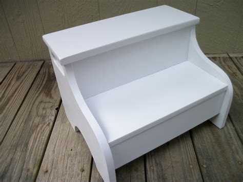 painted wooden step stool white