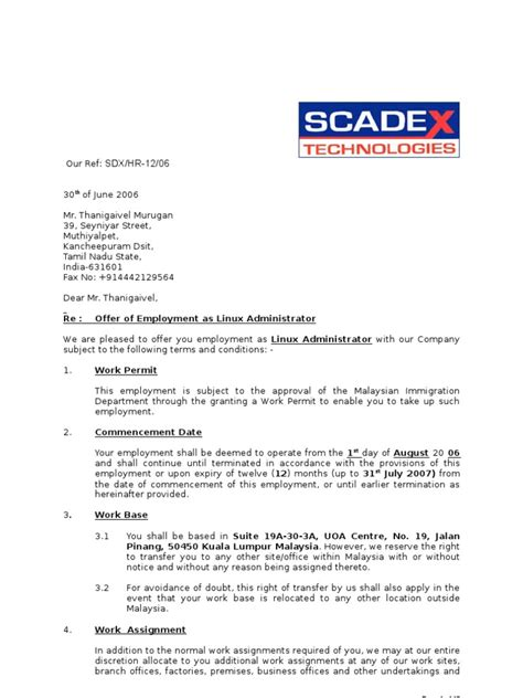 Offer Letter Malaysia Sle Letter Offer