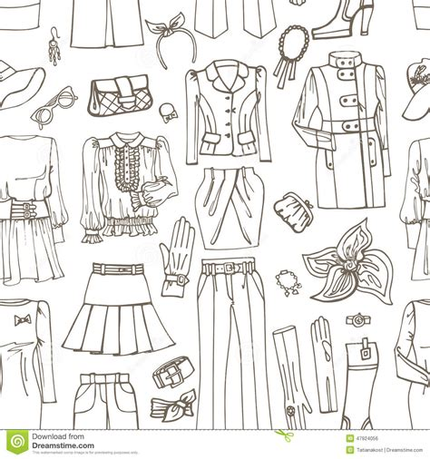 pattern fashion sketch outline sketch females clothing accessories stock vector