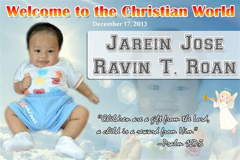 tarpaulin layout design for christening tarpaulins cebu giveaways personalized items party