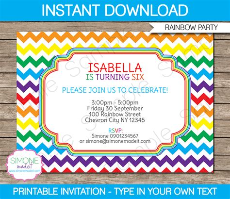 editable birthday invitation cards templates rainbow invitations template birthday