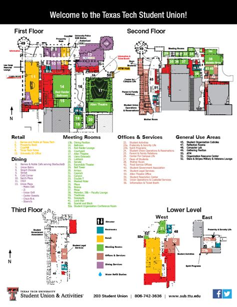 texas tech cus map pdf sub map student union activities ttu