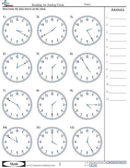worksheet clock reading time worksheets
