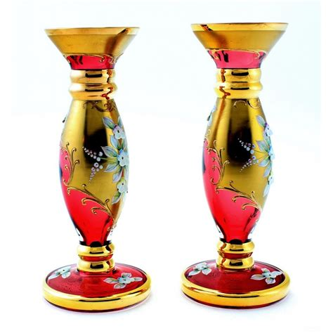 Center Vases by Vintage Pair Of 2 Bohemian Cranberry Moser Glass