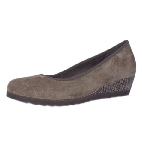 gabor comfort range gabor epworth women s taupe suede wide fit low wedge