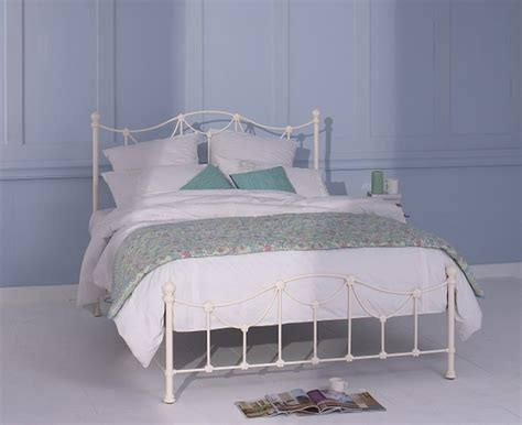 Metal Bed Frames Uk Obc Carie 4ft 6 Glossy Ivory Low Footend Metal Bed Frame By Original Bedstead Company
