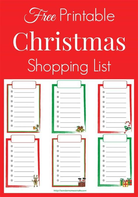 printable christmas list free printable christmas shopping list