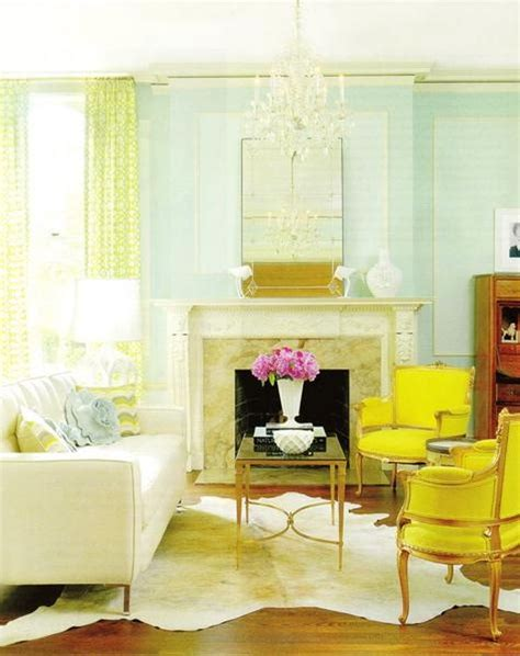 yellow living room aqua yellow cheery fresh