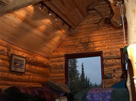 building  log cabin  alaska  porch  cabinets