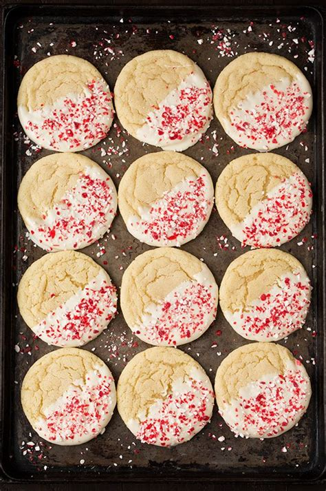 white chocolate dipped peppermint sugar cookies cooking classy