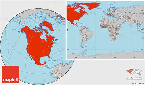 america map in world map gray location map of america within the entire world