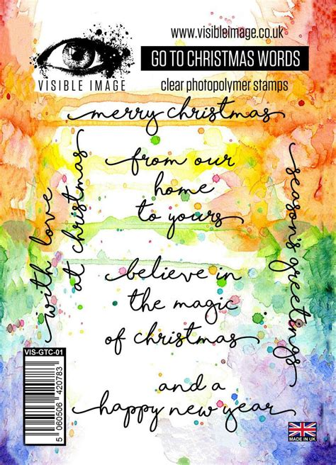 visible image   christmas words clear polymer stamp set topflight stamps llc