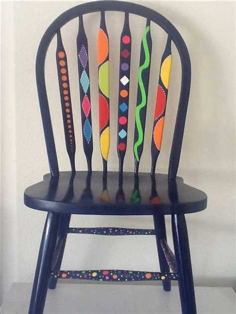 painted armchair painted chair dark grey op art funky furniture pinterest