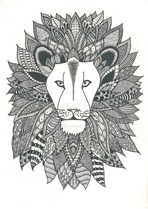 Zentangle Lion Pattern | zentangle lion by poreen on deviantart