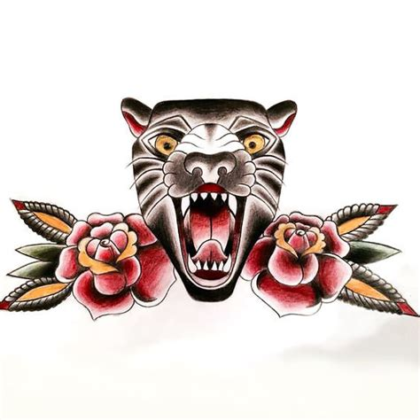 old panther tattoo design