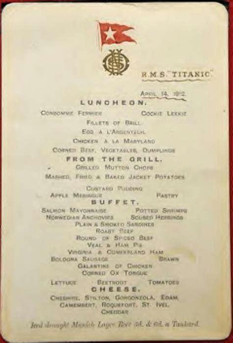 titanic menu titanic menu titanic theme