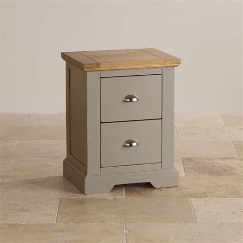 Grey Bedside Table Ls St Ives 2 Drawer Grey Bedside Table With Brushed Oak Top