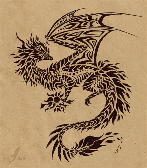 dragon with fire tattoo designs holder design by alviaalcedo on