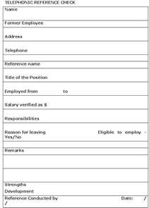 telephonic reference check template sle business