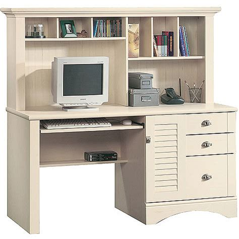 White Computer Desks With Hutch Sauder Harbor View Computer Desk With Hutch Antiqued White Walmart
