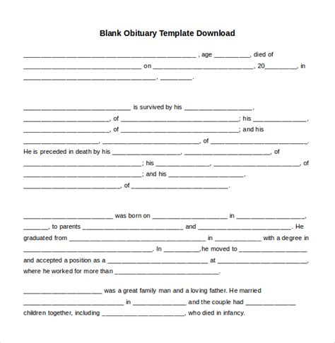 obituary template duplicate death obituary template free