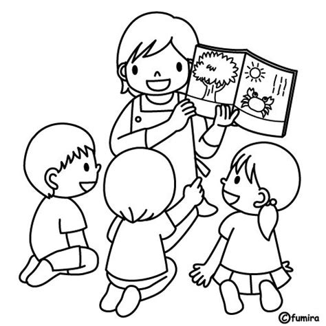 kindergarten teacher teaching reading free coloring pages