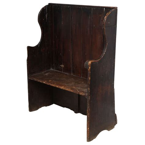 high back wooden bench late 18th c oak and fir wood high back bench at 1stdibs