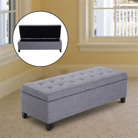 large upholstered ottoman 51 quot large tufted top storage bench ottoman footrest stool