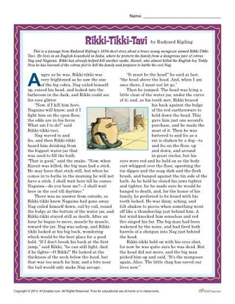 printable version of rikki tikki tavi rikki tikki tavi reading comprehension set