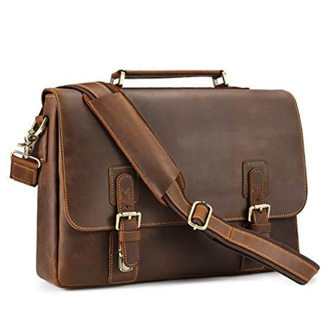 Tzeza Nise Leather Bag Tas Kulit Laptop Pria kattee men s leather shoulder briefcase 14