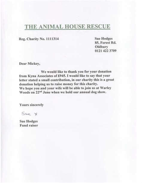 Thank You Letter For Donation To Animal Shelter Kyna Associates Donates 163 945 To The Animal House Rescue Kyna Associates