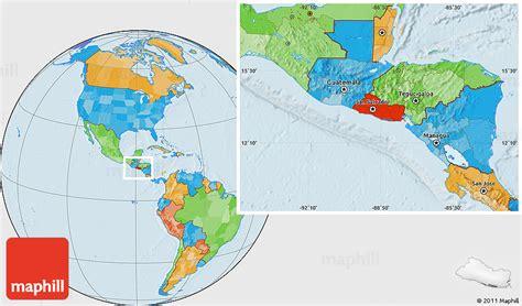 where is el salvador on a world map political location map of el salvador