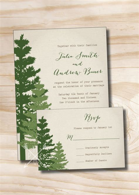 canva response card template rustic pine tree wedding invitation and response card