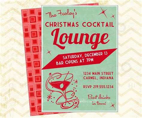 vintage christmas cocktail party retro printable christmas invitation madmen era christmas