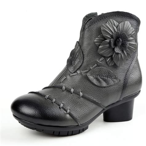 Retro Handmade Leather Shoes Buykud - socofy vintage zipper ankle leather boots floral
