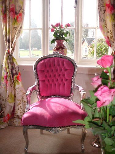 french louis shabby pink faux suede chic salon chair