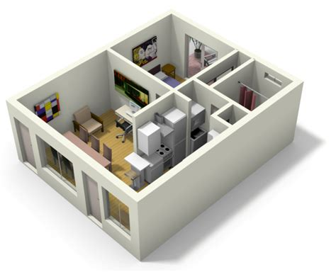 3d house plan with the implementation of 3d max modern small apartment design for live work 3d floor plan and tour