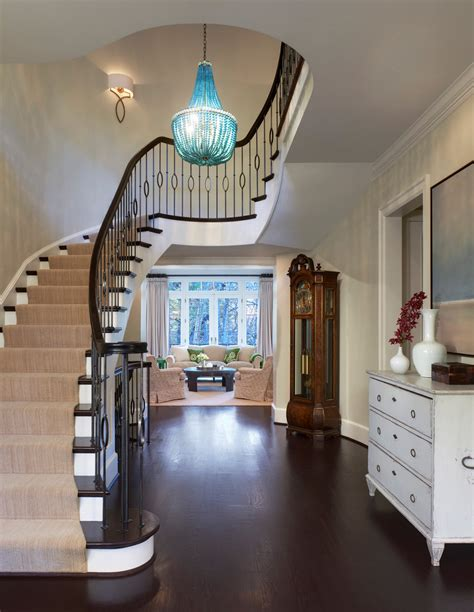 Split Level Entryway Decorating Gorgeous Foyer Chandeliers In Staircase Traditional With