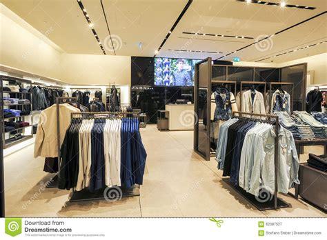 layout de zara interior of zara fashion clothes store editorial
