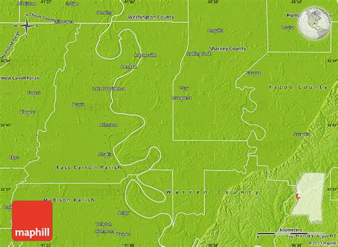 physical map of mississippi physical map of issaquena county