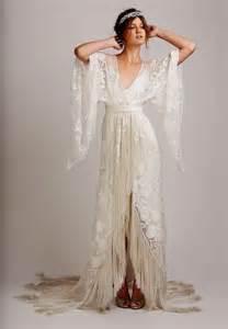 Boho bohemian hippie style beach wedding dress long sleeve v neck lace