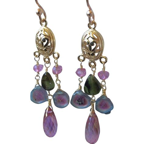 tourmaline earrings topaz chandelier earrings watermelon