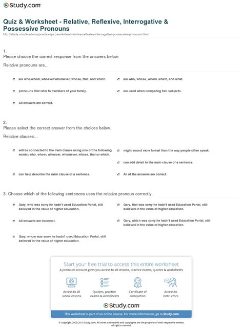 printable worksheets interrogative pronouns quiz worksheet relative reflexive interrogative
