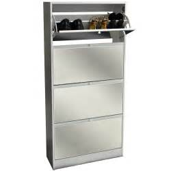 Mirrored Storage Cabinet Visage 4 Door Mirrored 24 Pair Shoe Storage Cabinet White Watson S On The Web Furniture