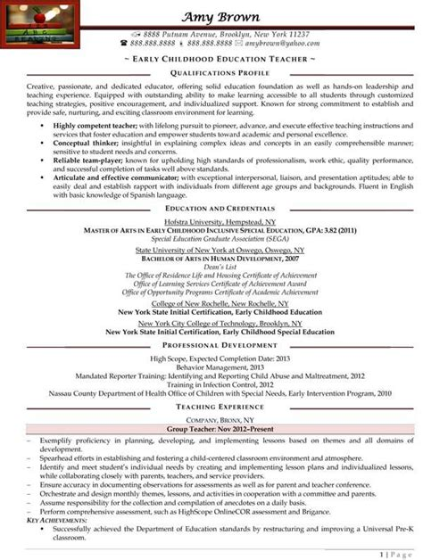 Resume Template For Early Childhood Early Childhood Education Resume Sle Resume Sles Early Childhood