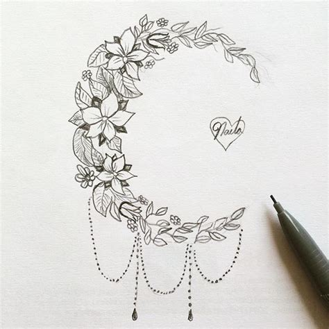floral moon tattoo design idea