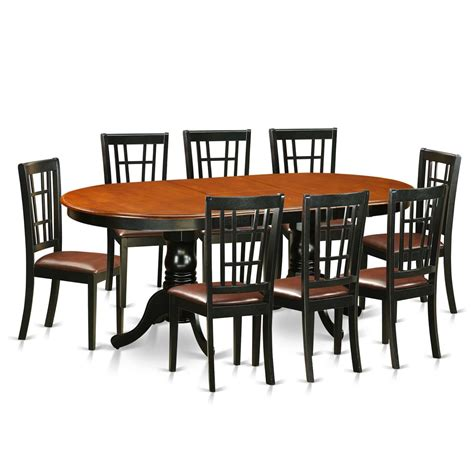 pfni9 bch lc 9 pc dining room set dining table and 8 east west furniture plainville 9 piece dining room set
