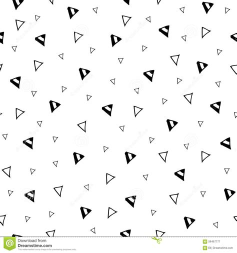 black and white hand pattern hand drawn triangle geometric seamless pattern stock