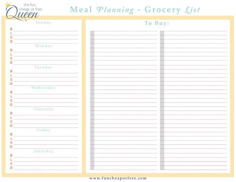 easy meal plan structure   printables fun cheap